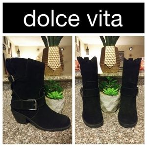 Dolce Vita Black Buckled Moto Boots Size 8